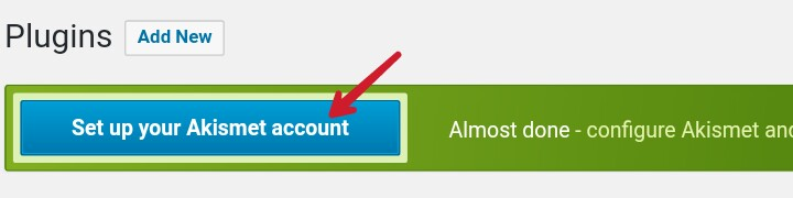 click on set up your akismet account