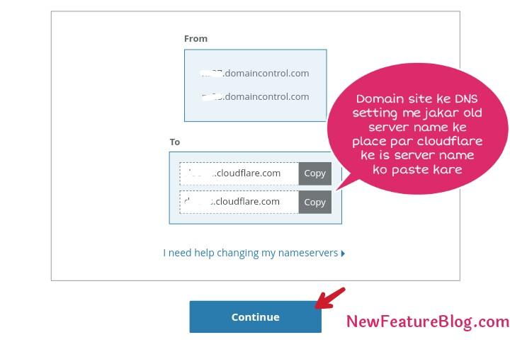 copy cloudflare nameserver