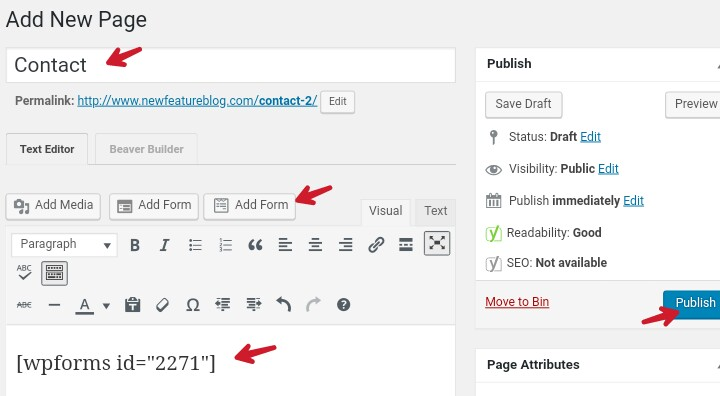 add contact form in page and publish