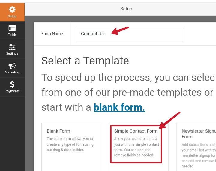 click on simple contact form