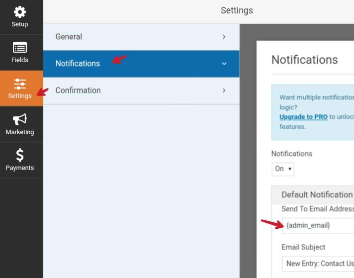 wpforms notification setting