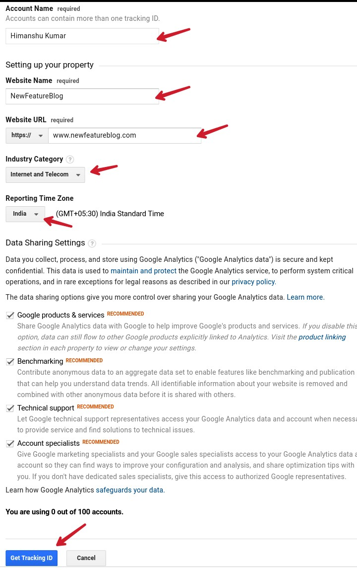 fill up information about you in google analytics