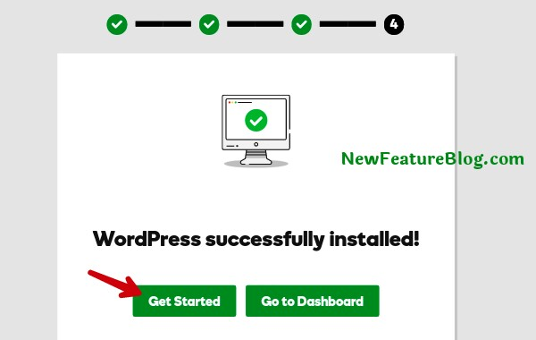 wordpress successfully installed click get started