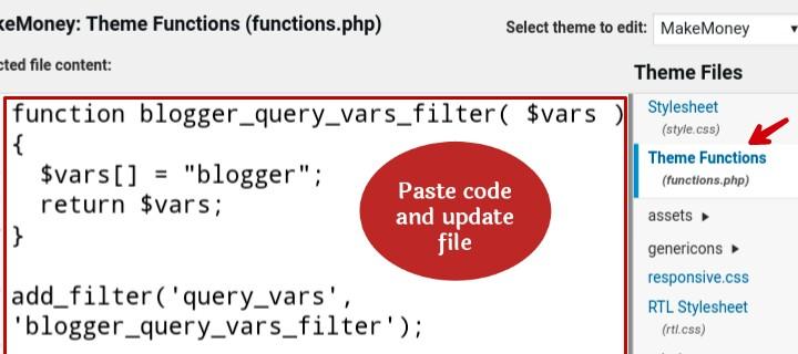 add code in wordpress theme function