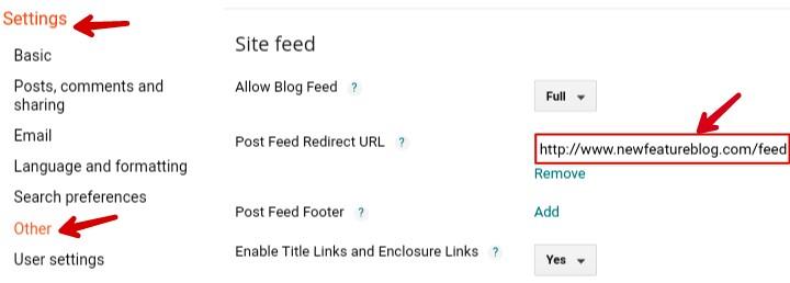 add wordpress feed redirect url