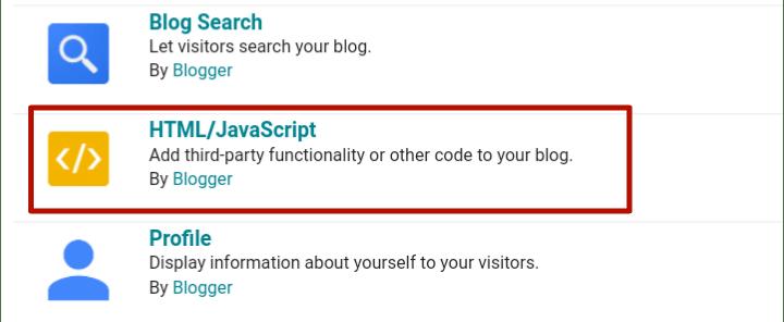 click on html javascript widget