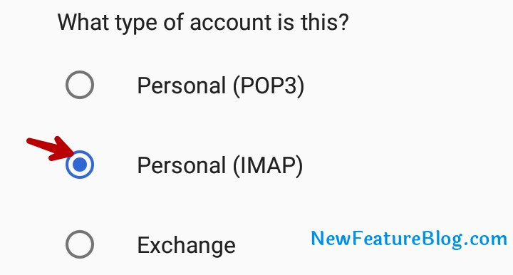 select personal IMAP account