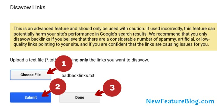 choose bad links .txt file and submit done