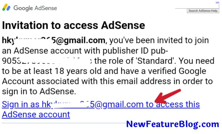 sign in as youremail@gamil.com to access this adsense par click kare