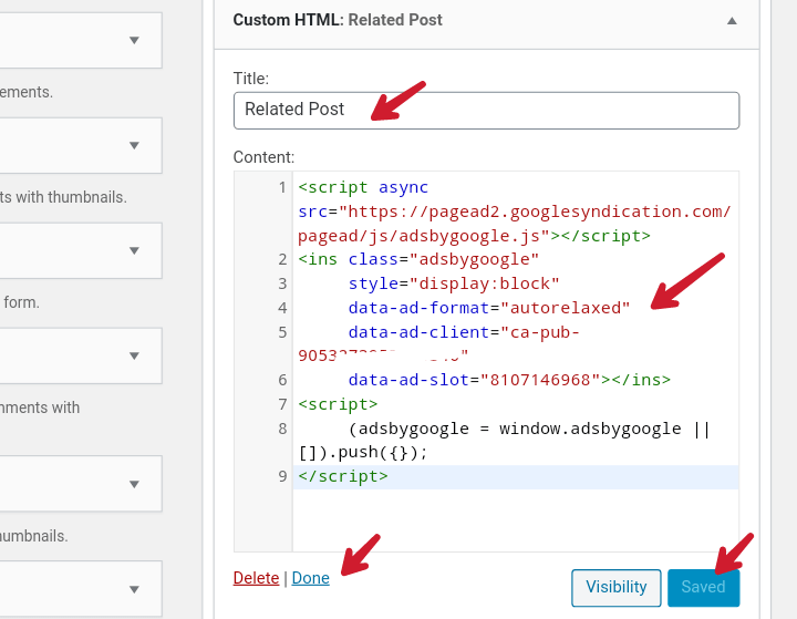 paste matched content code in post after content widget