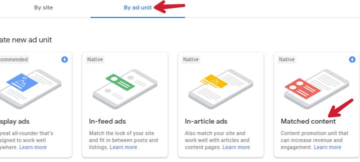 by ad unit section ke under matched content par click kare