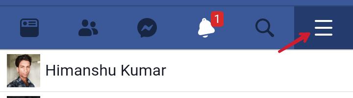 facebook homepage par three dots par click kare