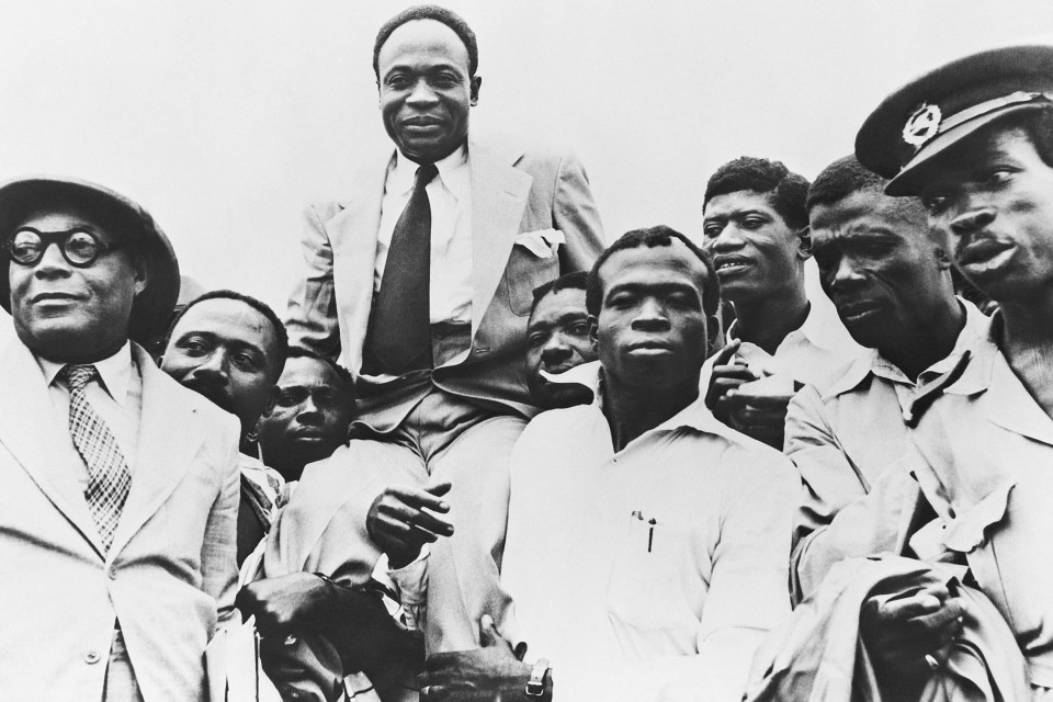 14 April 1957: Government officials hoist then prime minister Kwame Nkrumah on to their shoulders in celebration of Ghana gaining its independence from Great Britain. (Photograph by Bettmann/Contributor)