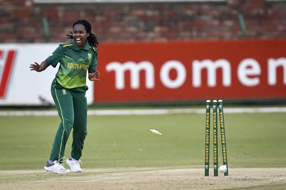 11 February 2019: Tumi Sekhukhune of Proteas Women celebrates her team taking a wicket during the first ODI between South Africa and Sri Lanka at Senwes Park in Potchefstroom. (Photograph by Lefty Shivambu/Gallo Images)