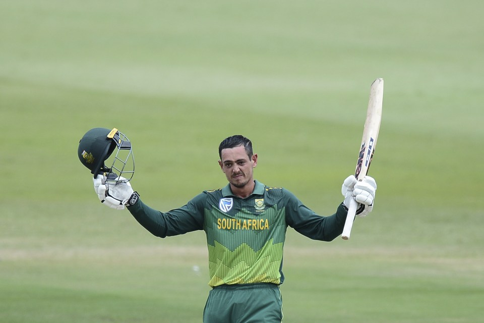 10 March 2019: South Africa's Quinton de Kock celebrates reaching his century during the Proteas' third ODI match against Sri Lanka at Kingsmead Stadium in Durban. (Photograph by Isuru Sameera Peiris/Gallo Images)