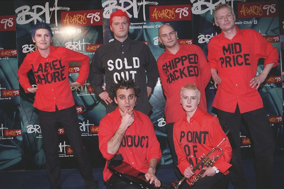 9 February 1998: Chumbawamba at the Brit Awards in London, United Kingdom. (Photograph by Brian Rasic/Getty Images)