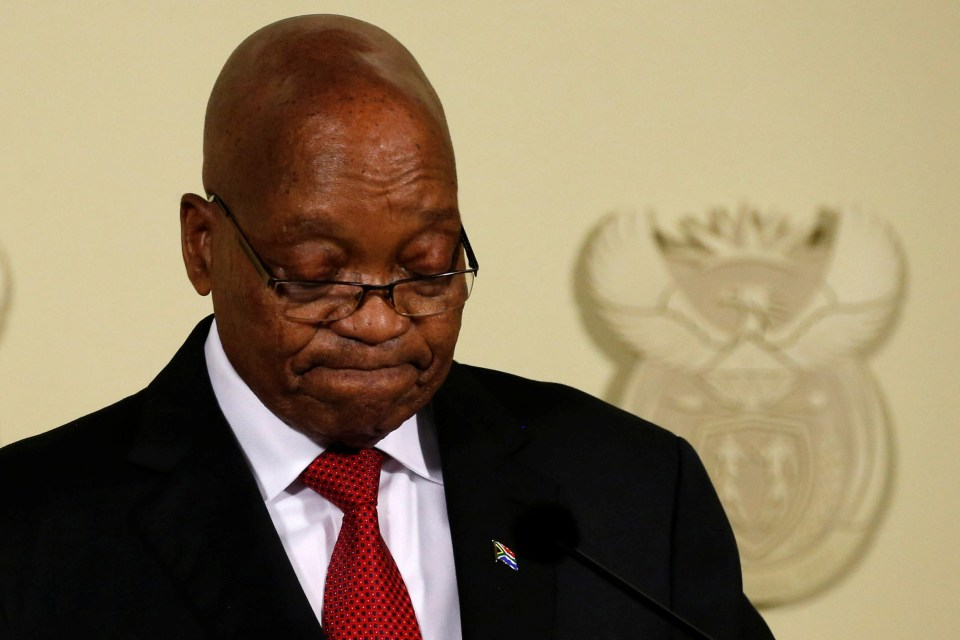 14 February 2018: President Jacob Zuma looks downcast at the Union Buildings in Pretoria as he announces he will be stepping down as leader of South Africa. (Photograph: Reuters/Siphiwe Sibeko)