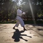 16 October 2018: Sensei Emmanuel Mwamba leads a morning class in karate lessons at Yeoville Park in Johannesburg's inner city.