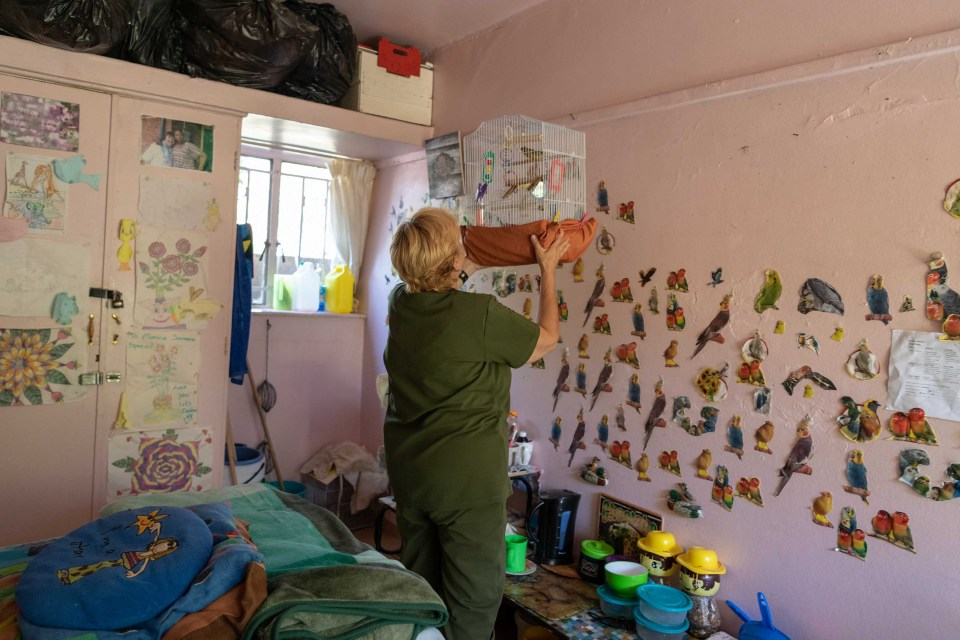 22 January 2019: Debra Moore (not her real name) with her pet bird in her room at the Gordonia Rehabilitation Centre in Bertrams, Johannesburg.
