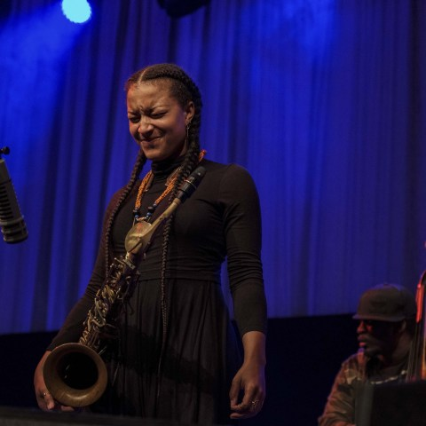 29 March 2019: (From left) Reed player and composer Nubya Garcia on stage with bassist and composer Daniel Casimir.