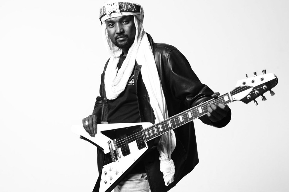 Undated: Guitarist Anana Harouna, one of three members of Kel Assouf. (Photograph by Guillaume Kayacan/Wikimedia Creative Commons licence)