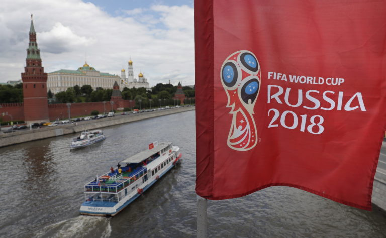 A view of a flag with the logo of the FIFA World Cup 2018 in front of Kremlin in Moscow, Russia, 07 June 2018. EPA/YURI KOCHETKOV