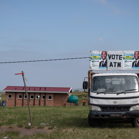 14 April 2019: A truck adorned with election posters featuring African Transformation Movement leader Vuyolwethu Zungula stands in the grounds of a primary school in Sigidi in the Eastern Cape, where the party held an election campaign rally.