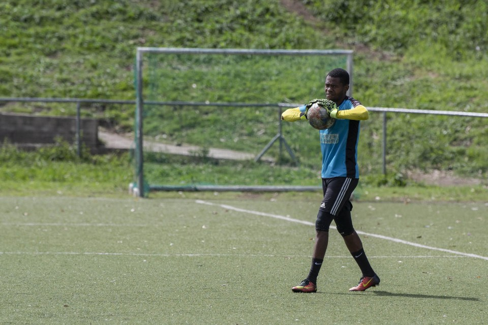 26 March 2019: Tornado FC goalkeeper Phuti Lekoloane during a training session at the North End Stadium in East London.