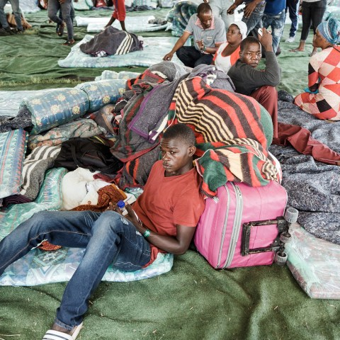 29 March 2019. Hundreds of migrants took refuge at Sherwood Park in Durban after they were displaced by xenophobic attacks last week.