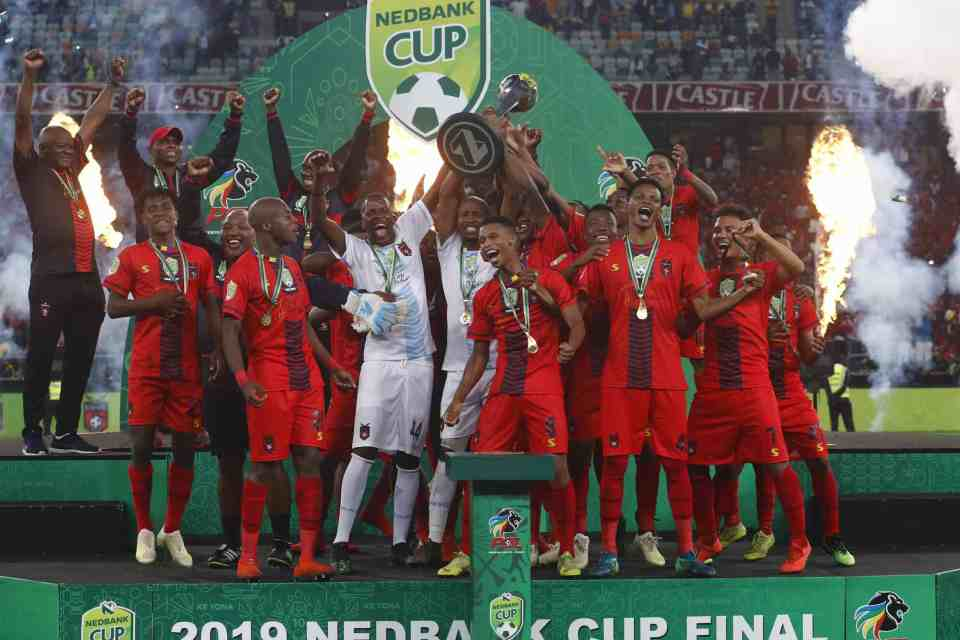 18 May 2019: TS Galaxy are crowned Nedbank Cup champions after beating Kaizer Chiefs 1-0 in the final at Moses Mabhida Stadium in Durban. (Photograph by Anesh Debiky/Gallo Images)