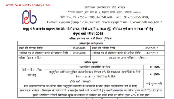 mp vyapam group 4 recruitment 2020