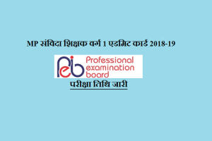 MP Samvida Shikshak Varg 1 Admit Card