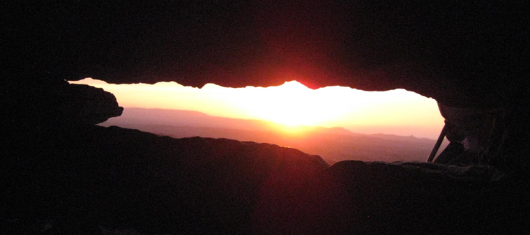 Summer Solstice Sunset at Carrowkeel Cairn G viewed through the roofbox