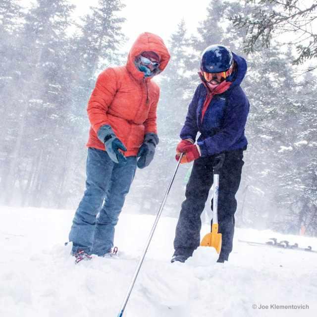 Avalanche rescue practice on Mount Washington, New Hampshire.