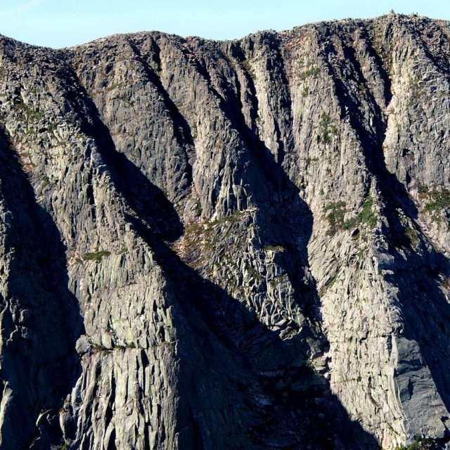 Alpine rock climbing terrain on Mount Katahdin, Maine.