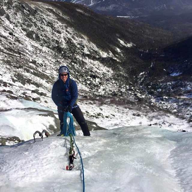 Snow and ice climbing in Huntington Ravine on Mount Washington, New Hampshire.