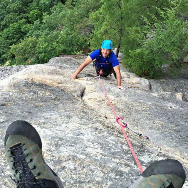 Guided rock climbing on Upper Refuse at Cathedral Ledge near North Conway, New Hampshire.