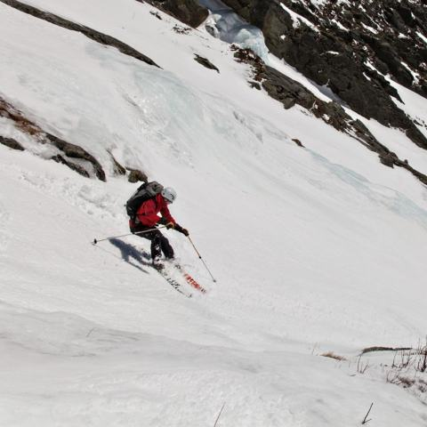 Ski mountaineering in Huntington Ravine on Mount Washington, New Hampshire.