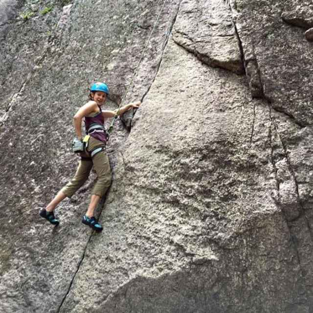 Top rope rock climbing guided instruction at Cathedral Ledge, New Hampshire.