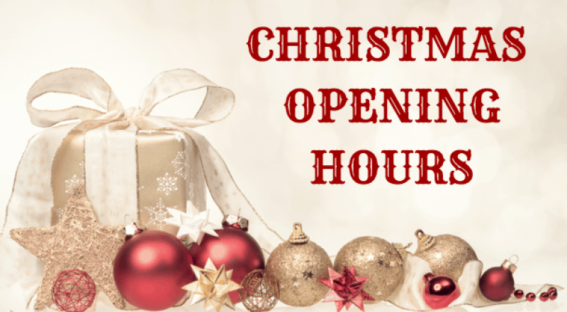 Opening Hours: Christmas and New Years 2017