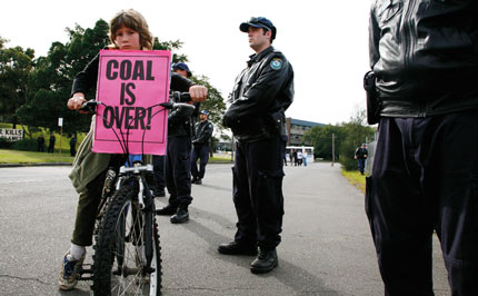 On yer bike! A clear message was given to coal companies at Australia's climate camp in July.