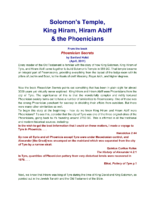 Solomon_s Temple, King Hiram, Hiram Abiff _ the Phoenicians
