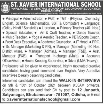 St Xavier International School Recruitment 2021
