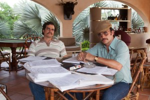 Wagner Moura as Pablo Escobar and Juan Pablo Raba as  Gustavo in the Netflix Original Series NARCOS.  Photo: Daniel Daza/Netflix.