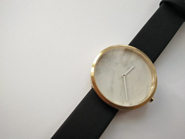 Black strap. Marble dia watch. Maven Watches