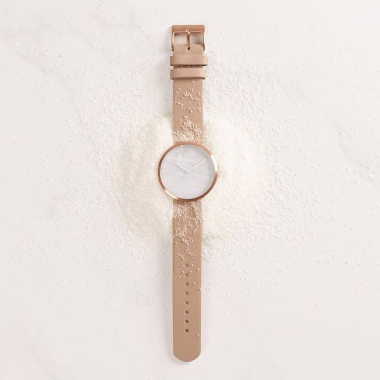 White marble dial. Maven watches
