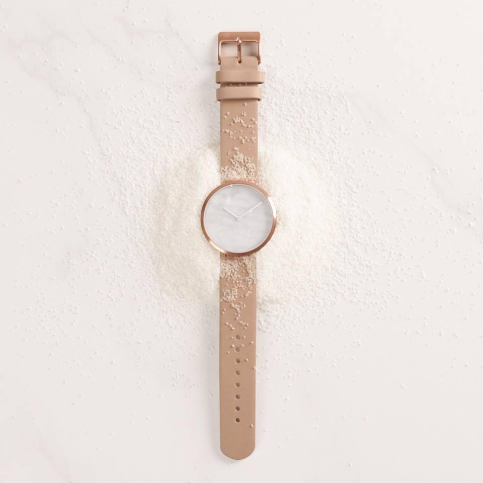 White marble dial. Maven watches