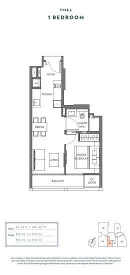 1 bedroom Nyon Floor Plan