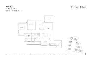 The Florences Residences 3 bedroom Floor plan