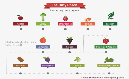 Infographic of The Dirty Dozen, fruit and vegetables best bought organic
